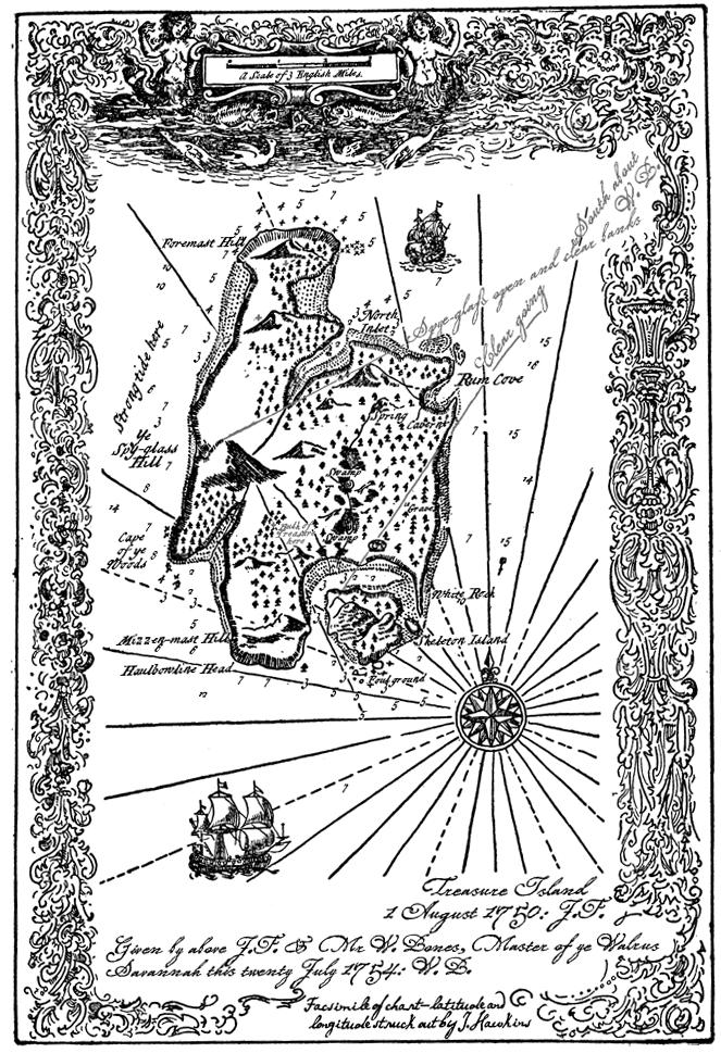 Map Treasure Island Stevenson